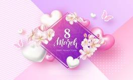 8 de março cartão festivo do dia das mulheres felizes Fundo bonito com flores, corações e borboletas Ilustração do vetor ilustração stock