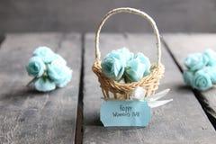 8 de março Cartão internacional do dia do ` s das mulheres com flores Fotografia de Stock