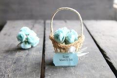 8 de março Cartão internacional do dia do ` s das mulheres com flores Fotos de Stock Royalty Free