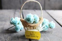 8 de março cartão O dia da mulher internacional, cartão da flor com rosas Fotografia de Stock