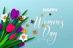 8 de março cartão para o dia das mulheres internacionais ilustração stock