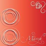 8 de março Cartão vermelho Imagem de Stock
