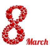 8 de março Coração vermelho sob a forma de oito em um fundo branco Fotos de Stock