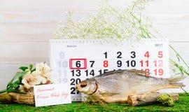 6 de março dia congelado nacional do alimento no calendário Foto de Stock Royalty Free