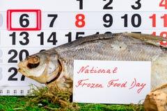 6 de março dia congelado nacional do alimento no calendário Imagem de Stock