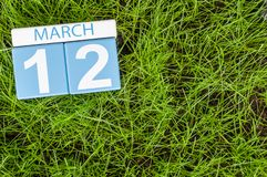 12 de março Dia 12 do mês, calendário de madeira da cor no fundo da grama verde do futebol Tempo de mola, espaço vazio para o tex Foto de Stock Royalty Free