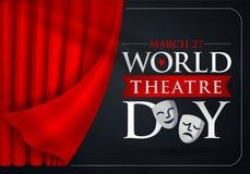 27 de março, dia do teatro do mundo, cartão do conceito, com cortinas e cena com v vermelho ilustração do vetor