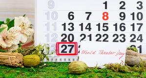 27 de março dia do teatro no calendário Imagem de Stock