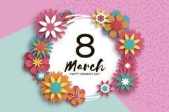 8 de março Dia feliz colorido das mulheres s Dia na moda da mãe s Cartão floral cortado papel Flor de Origami texto círculo ilustração royalty free