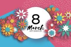 8 de março Dia feliz colorido do ` s das mulheres Dia na moda do ` s da mãe Cartão floral cortado papel Flor de Origami texto cír ilustração do vetor