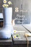 8 de março feriado Cartão do dia das mulheres felizes Foto de Stock Royalty Free