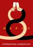 8 de março Homens e mulheres românticos da data Fraternidade do vinho da bebida Fotografia de Stock