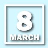 8 de março molde do cartão do dia do ` s das mulheres inscrição o 8 de março em um fundo azul Imagem de Stock