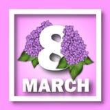 8 de março molde do cartão do dia do ` s das mulheres Número 8 em um fundo de ramos lilás Felicitações o 8 de março Imagens de Stock Royalty Free
