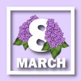 8 de março molde do cartão do dia do ` s das mulheres Número 8 em um fundo de ramos lilás Felicitações o 8 de março Foto de Stock