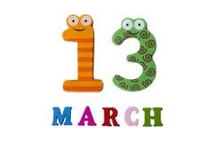13 de março no fundo, nos números e nas letras brancos Imagens de Stock