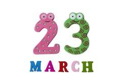 23 de março no fundo, nos números e nas letras brancos Fotografia de Stock Royalty Free