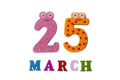 25 de março no fundo, nos números e nas letras brancos Foto de Stock
