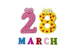 28 de março no fundo, nos números e nas letras brancos Foto de Stock Royalty Free