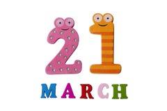 21 de março no fundo, nos números e nas letras brancos Imagem de Stock