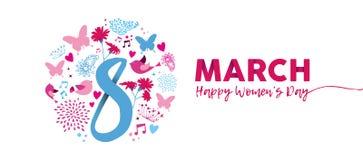 8 de março projeto da bandeira da flor do rosa do dia do ` s das mulheres ilustração royalty free