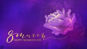 8 de março projeto do fundo com flor e mulher Foto de Stock