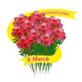 8 de março Ramalhete grande das rosas Fita do feriado Illustrati do vetor Imagem de Stock Royalty Free