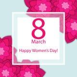 8 de março Vector o cartão para o dia internacional do ` s das mulheres ilustração stock