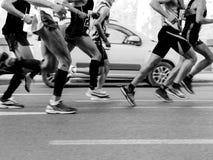 de marathon van de de looppasstad van agentenmensen stock foto