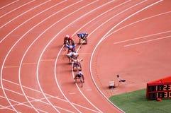 De marathon van mensen in de Spelen van Peking Paralympic Stock Foto
