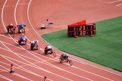 De marathon van mensen in de Spelen van Peking Paralympic Royalty-vrije Stock Afbeeldingen
