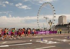 De Marathon van mensen - Olympics 2012 Stock Foto