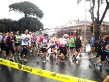De Marathon van Rome, Maart 2014, 3de km Stock Fotografie