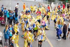 De Marathonagenten van Athene na het beëindigen van de race royalty-vrije stock afbeeldingen