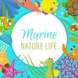 De mariene vectorillustratie van het het levenskader Het s-de banner van de de zomertijd, affiche Watermasker met vinnen Onderwat royalty-vrije illustratie