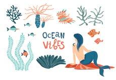 De mariene vectorreeks van het meerminleven vlak Oceaan die vibes van letters voorzien vector illustratie