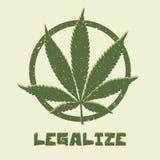 De marihuanablad van de Grungestijl Legaliseer medisch Stock Afbeelding