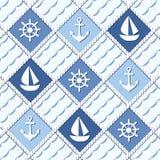 De marine als thema had naadloos patroon met ankers Royalty-vrije Stock Fotografie