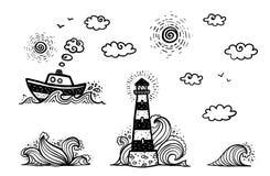 De marine plaatste in de stijl van beeldverhaalkrabbels: schip, vuurtoren, golven, zon en wolken vector illustratie