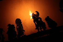 De Marionetten van de schaduw in Bali Stock Foto