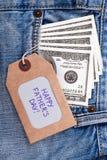 De markering en de dollars van de vader` s Dag Royalty-vrije Stock Foto's