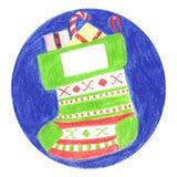 De markering van de Kerstmissok voor de gift Stock Foto's