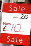 De markering van de korting in Britse ponden Stock Foto's