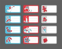 De markeringen van de Kerstmisgift met hand getrokken stickers worden geplaatst die royalty-vrije illustratie