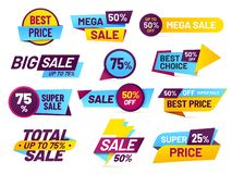 De markeringen van de verkoop De detailhandelsstickers, het etiket van de bevorderingsprijs en opslag het tarief de bannersticker royalty-vrije illustratie