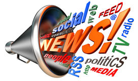 De markeringswolk en megafoon van het nieuwswoord Royalty-vrije Stock Fotografie