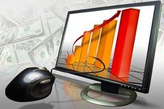 De marketing van verkoopgrafiek op een computer Stock Foto