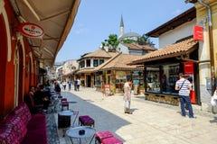 De markt van BaÅ¡ Ä  ija arÅ ¡ in Sarajevo royalty-vrije stock afbeelding