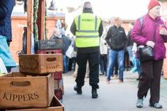 De Markt van de Kathedraalkerstmis van Exeter - Houten Dozen Stock Foto