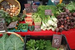 De Markt van de landbouwer/Venkel, Okra, Peper, Uien, Radijzen Stock Fotografie